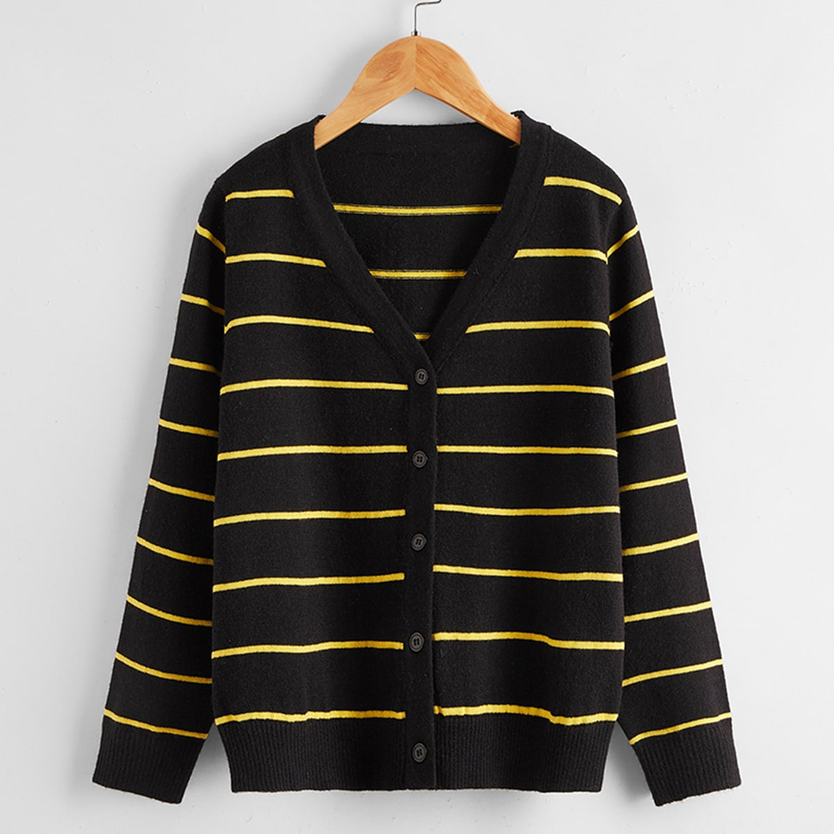 Boys Buttoned Front Striped Cardigan