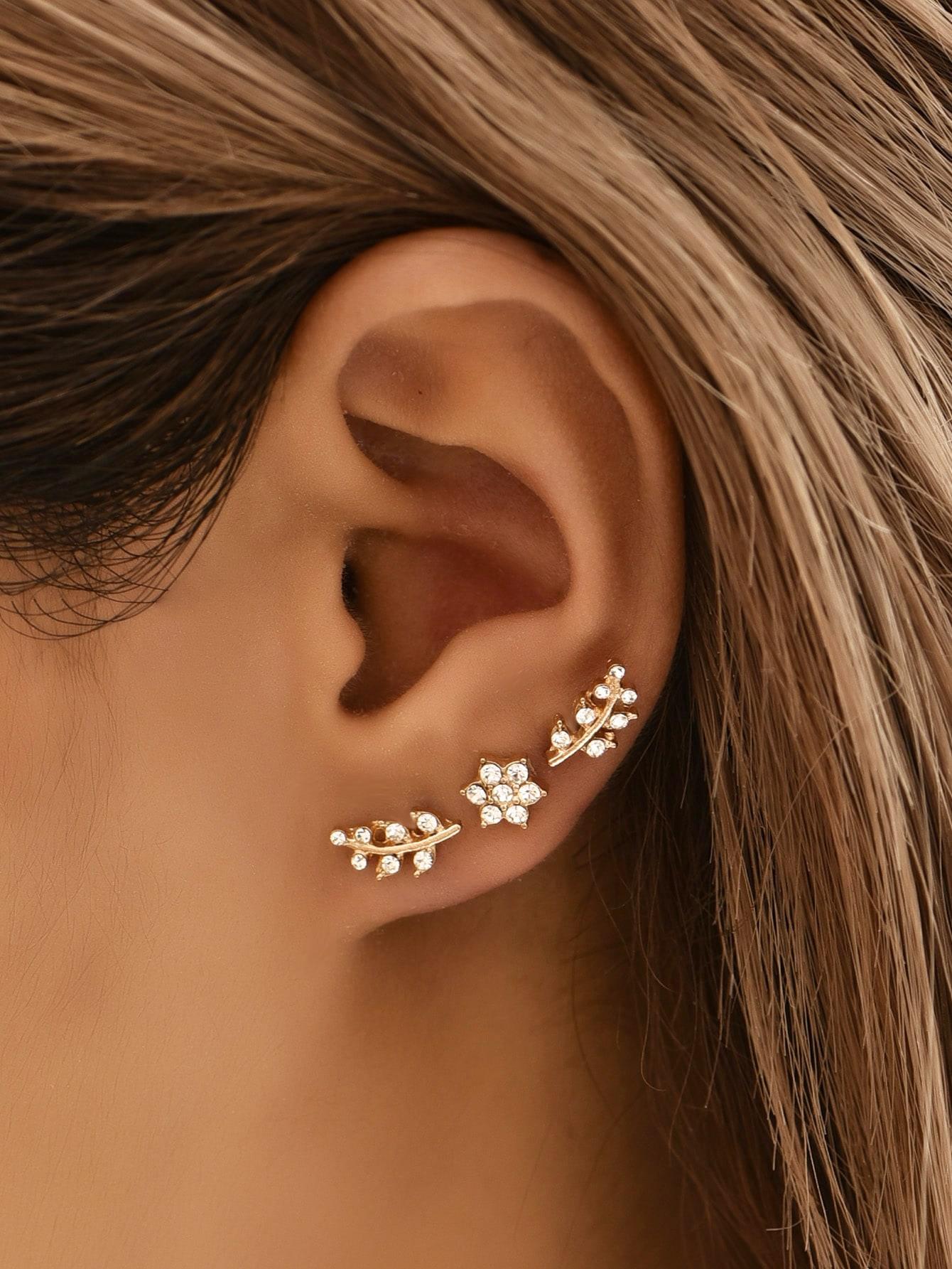 2pairs Rhinestone Decor Stud Earrings thumbnail