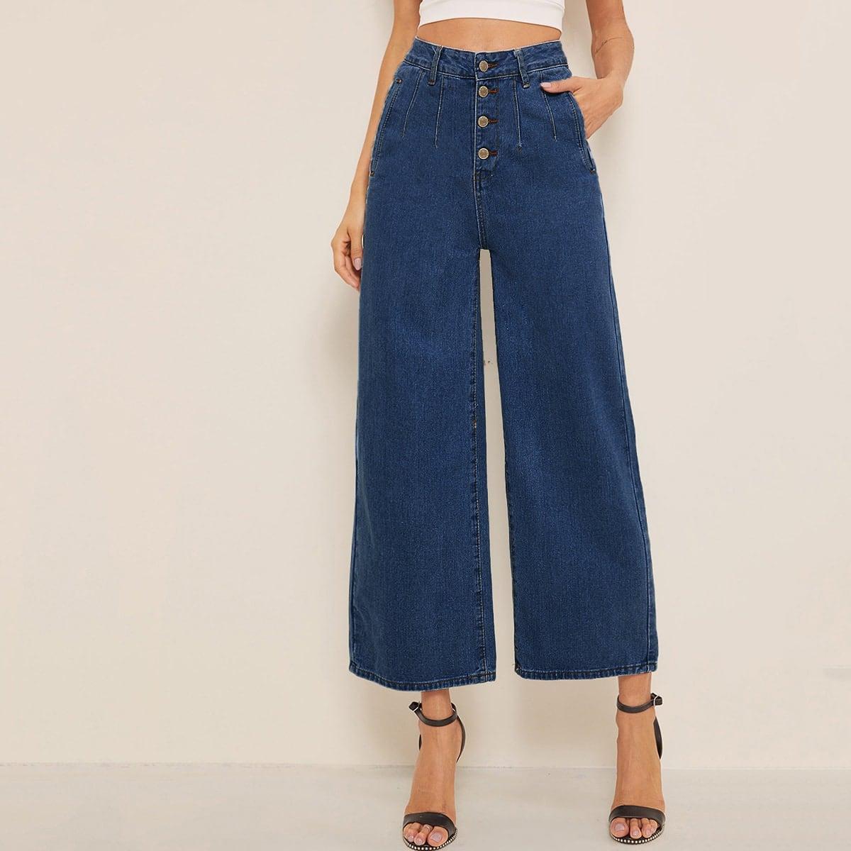 Короткие широкие джинсы с высокой талией