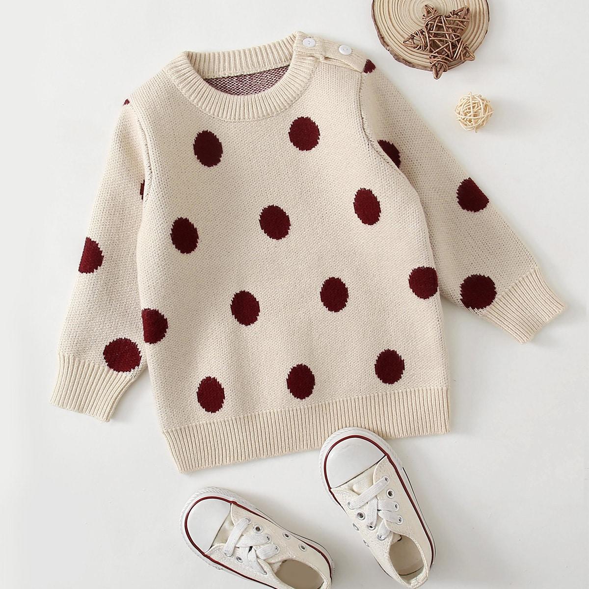 На пуговицах в горошек повседневный свитеры  для малышей