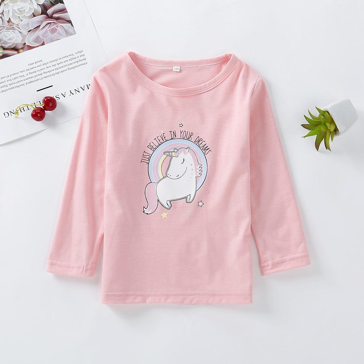 С карикатурой повседневный футболки для маленьких девочек
