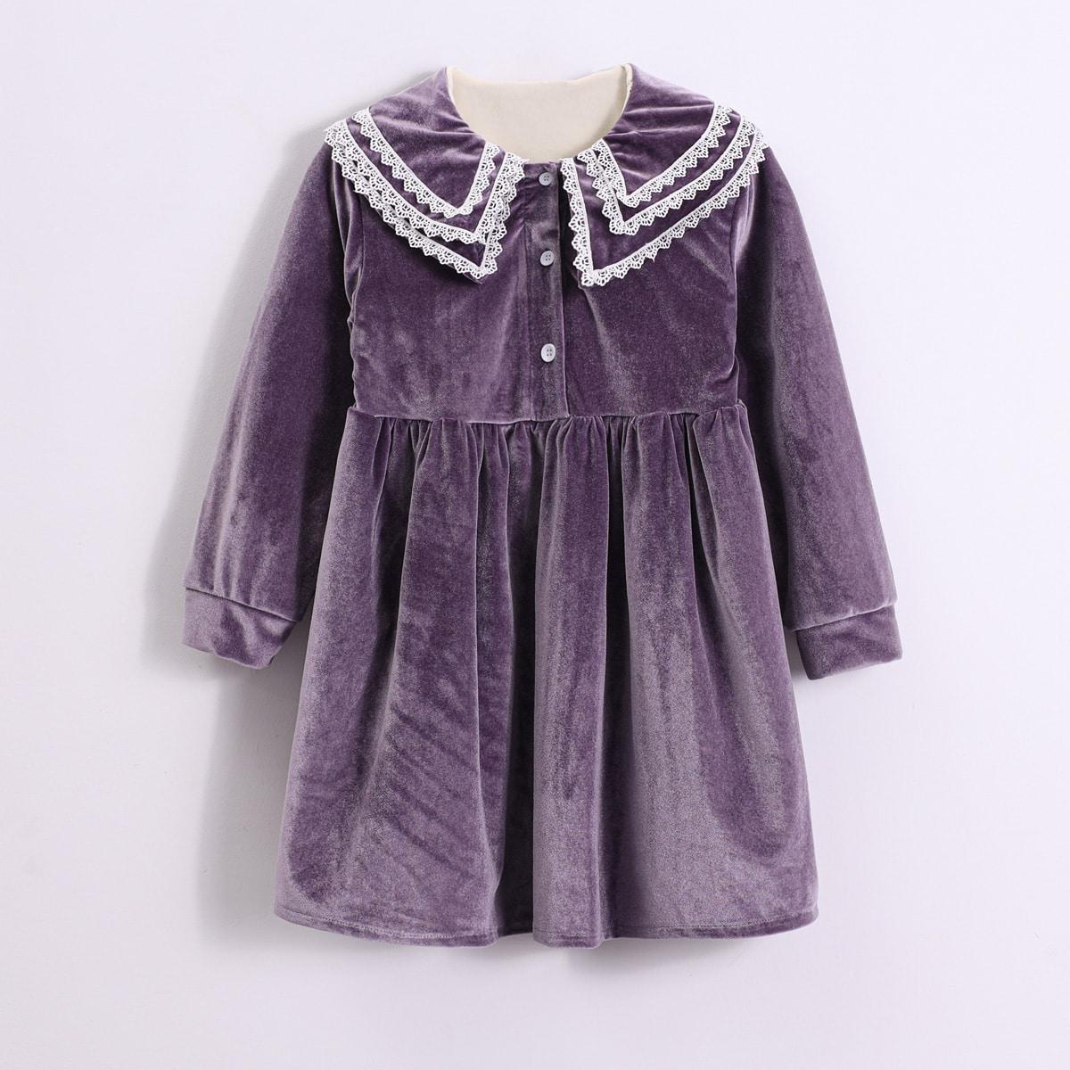 Samt Babydoll-Kleid mit mehrschichtigem Exerzierkragen