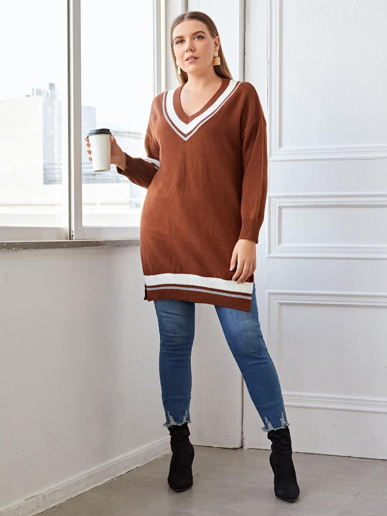Plus V-Neck Color Block Longline Sweater
