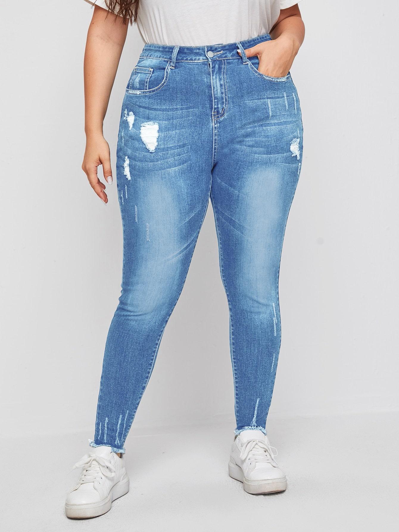 Plus High Stretch Ripped Raw Hem Skinny Jeans thumbnail