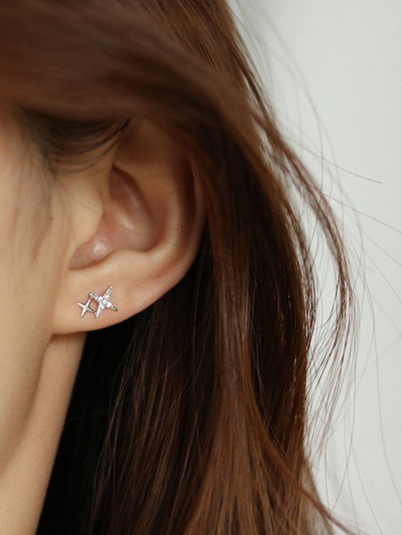 Rhinestone Letter Design Earrings thumbnail