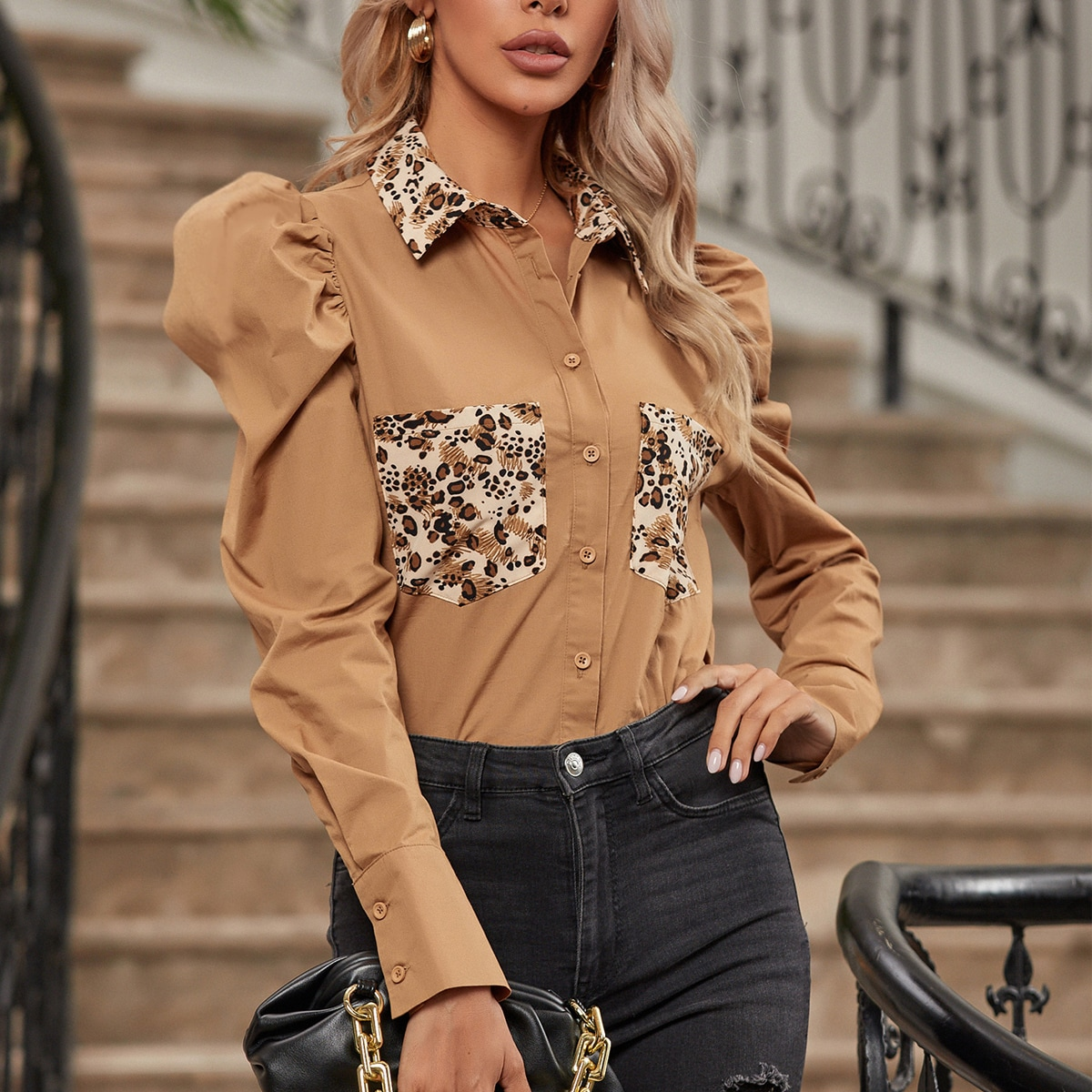Graphic Print Leg-of-mutton Sleeve Blouse