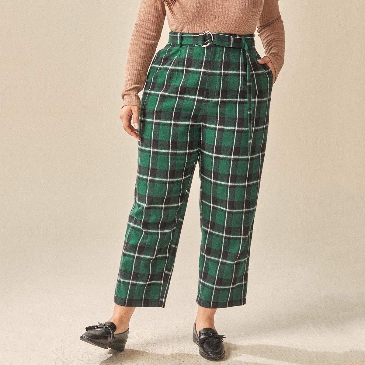 Карман клетчатый институтский брюки размер плюс