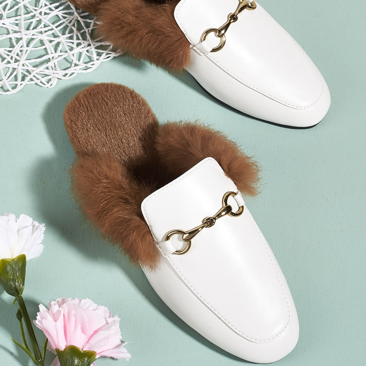 Snaffle Decor Faux Fur Lined Loafer Mules