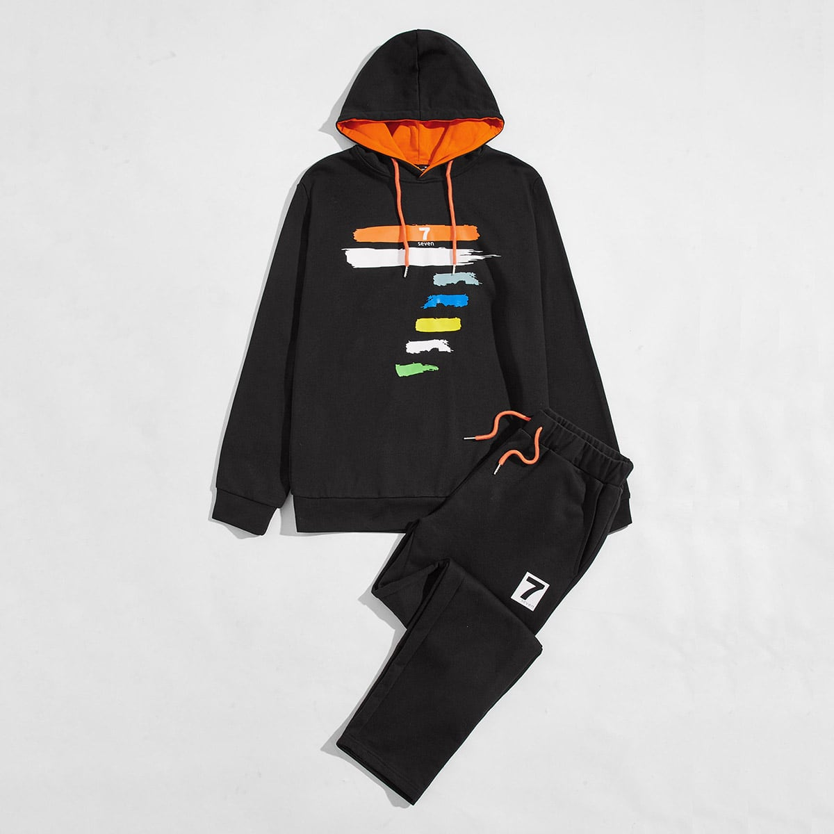 Men Letter and Brush Stroke Print Drawstring Hoodie & Joggers Set