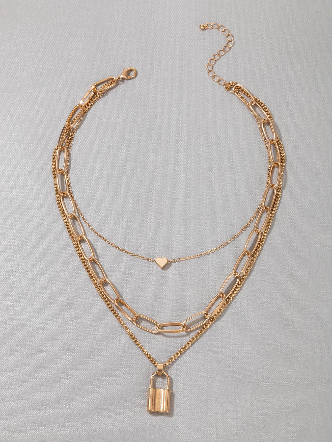 Lock Heart Layered Necklace thumbnail