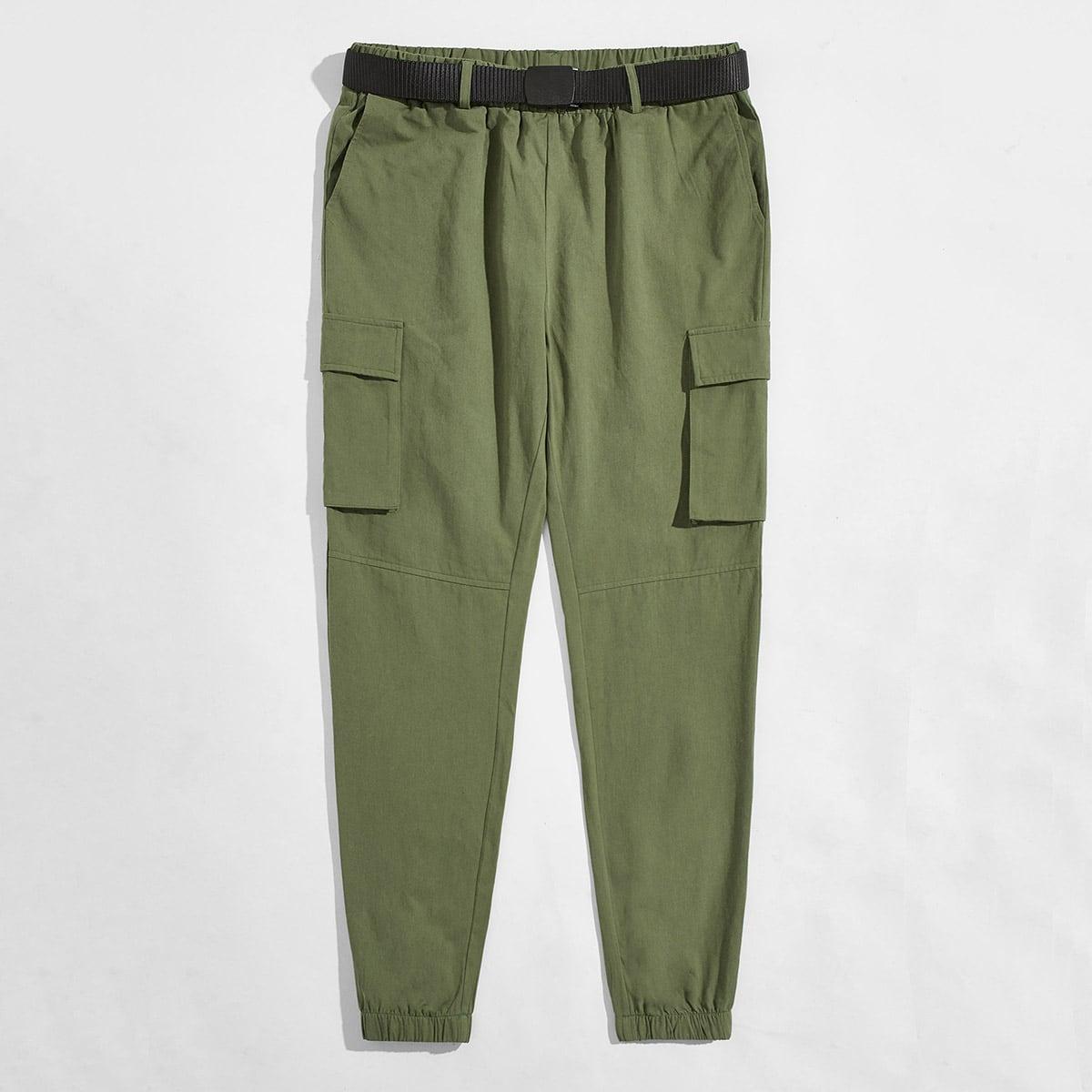 Карман одноцветный улица мужские брюки