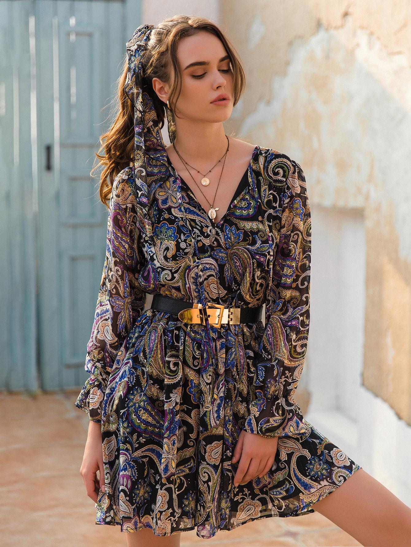 Flounce Sleeve Paisley Print Dress Without Belt thumbnail