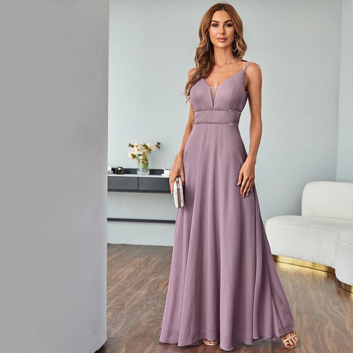 Контрастная сетка Одноцветный Элегантный Платье