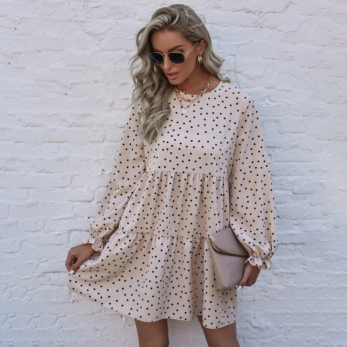 Polka Dot Smock Dress, SHEIN  - buy with discount