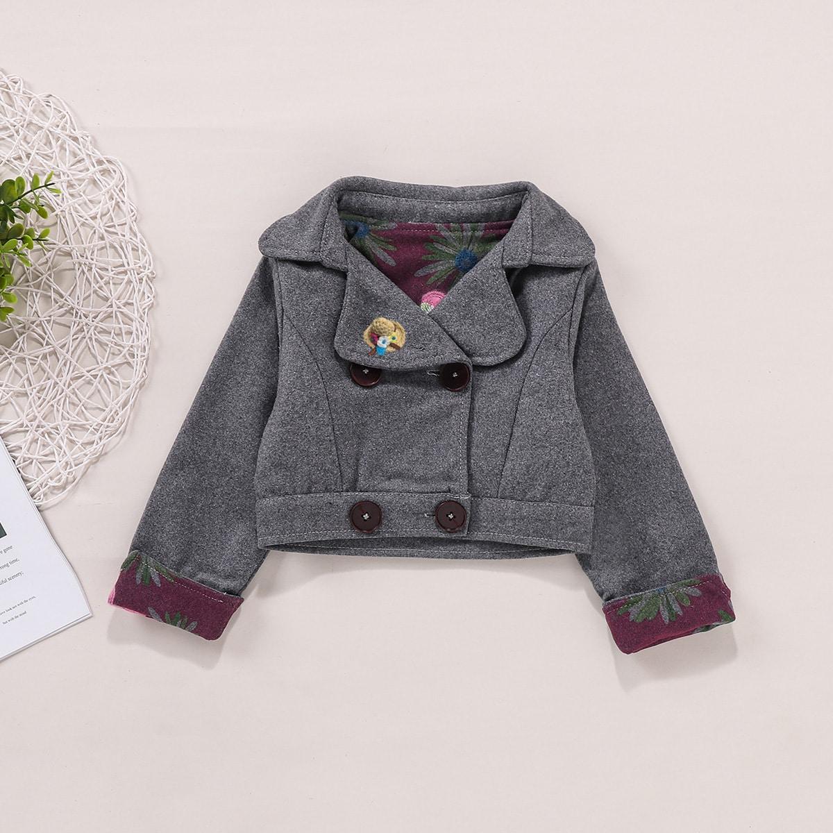 Двубортная куртка с цветочным принтом для девочек