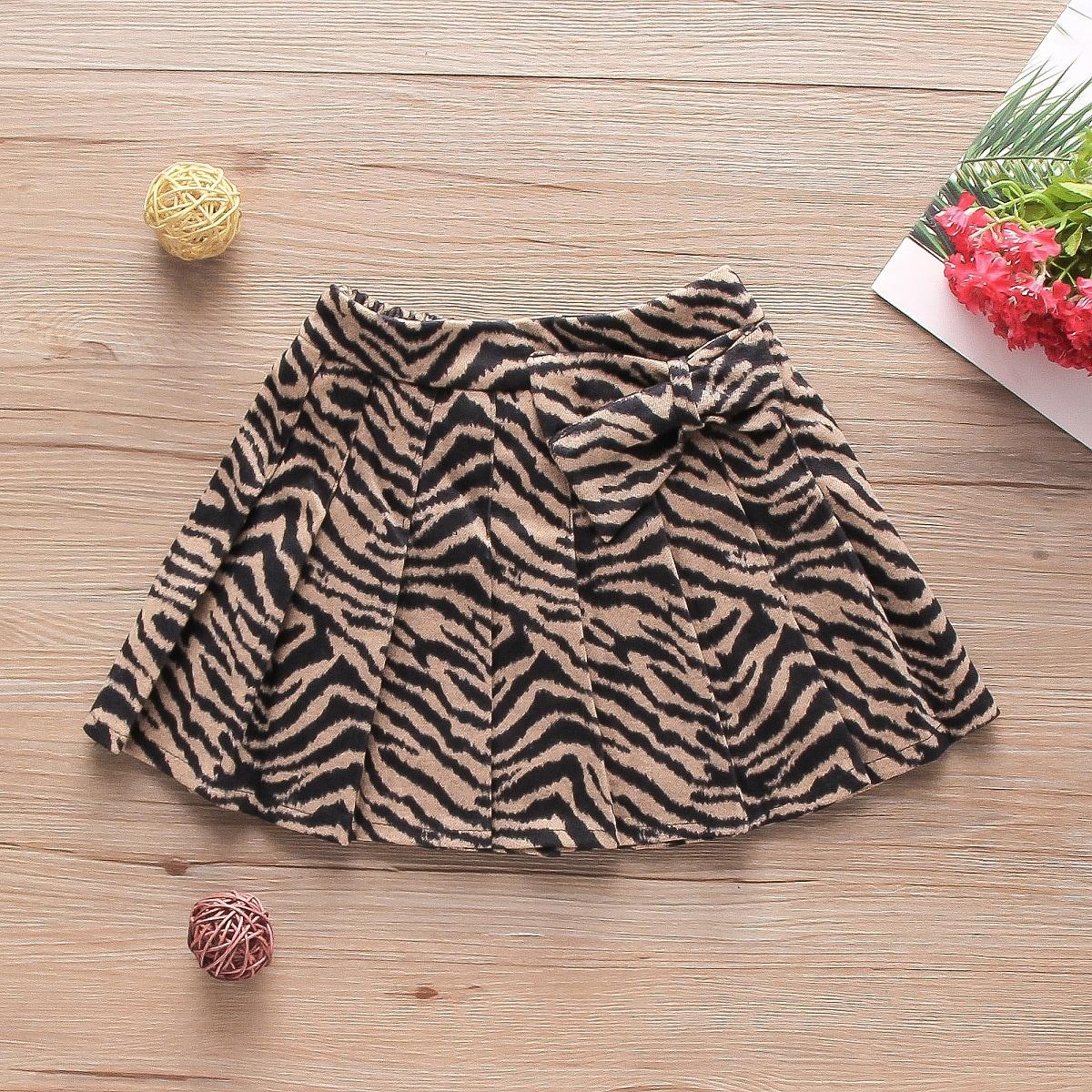 Плиссированное в полоску зебры повседневный юбки для девочек