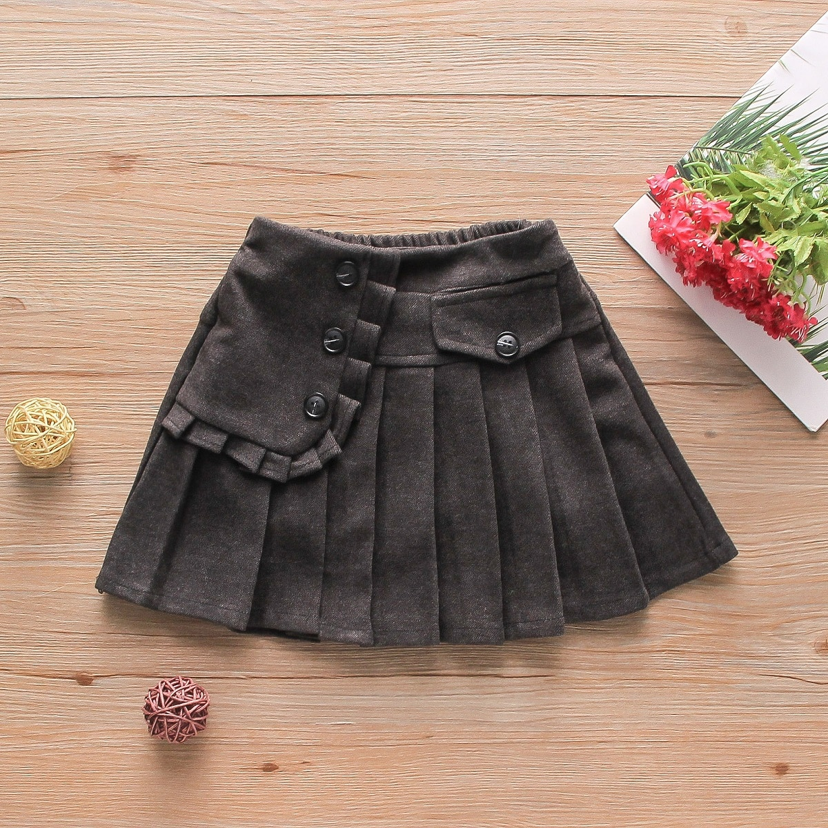 Плиссированное одноцветный институтский юбки для девочек