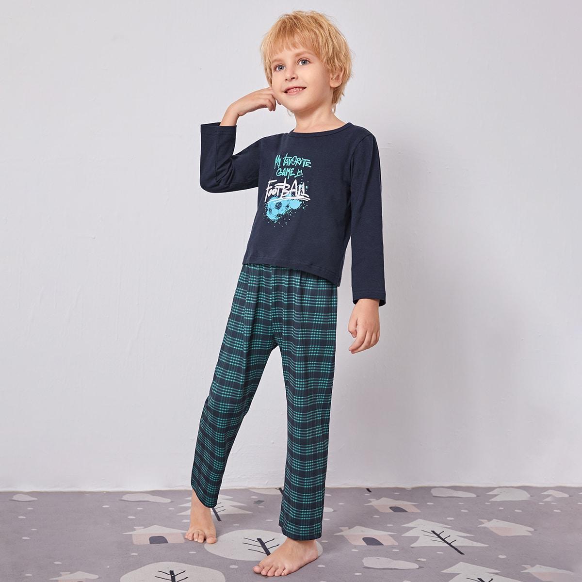 Клетка повседневный домашняя одежда для мальчиков