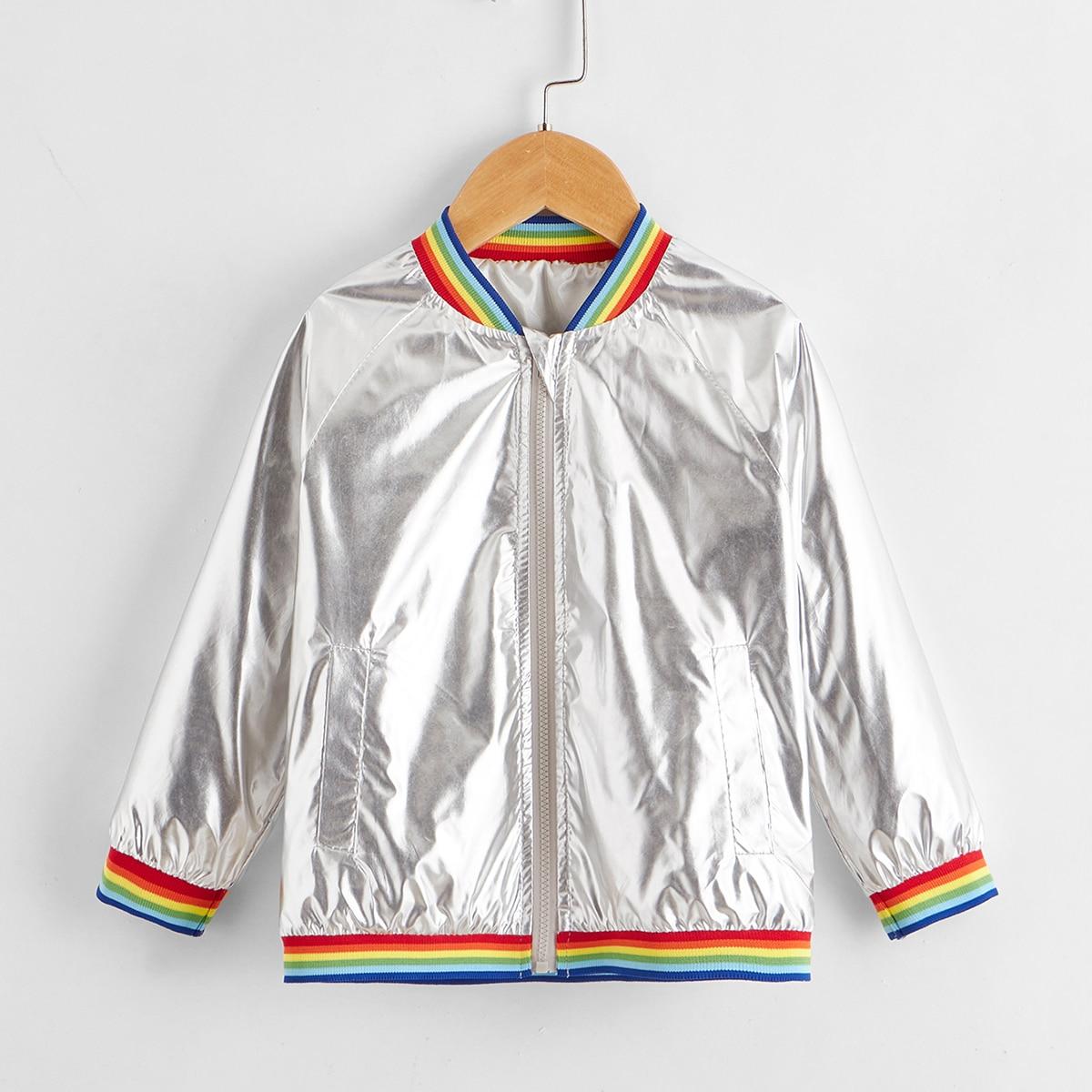 На молнии радужные полосы очаровательный куртки для девочек