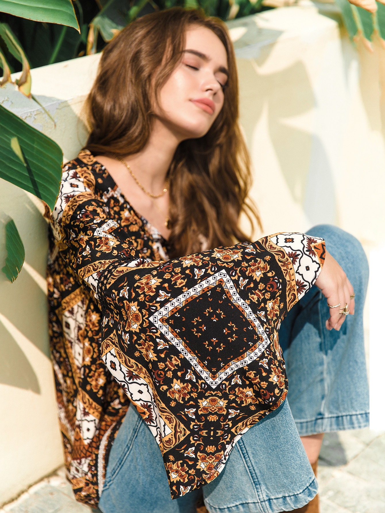 Bell Sleeve Fringe Strap Scarf Print Top thumbnail