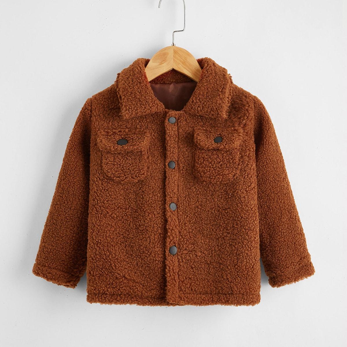 С карманами одноцветный повседневный пальто для маленьких девочек