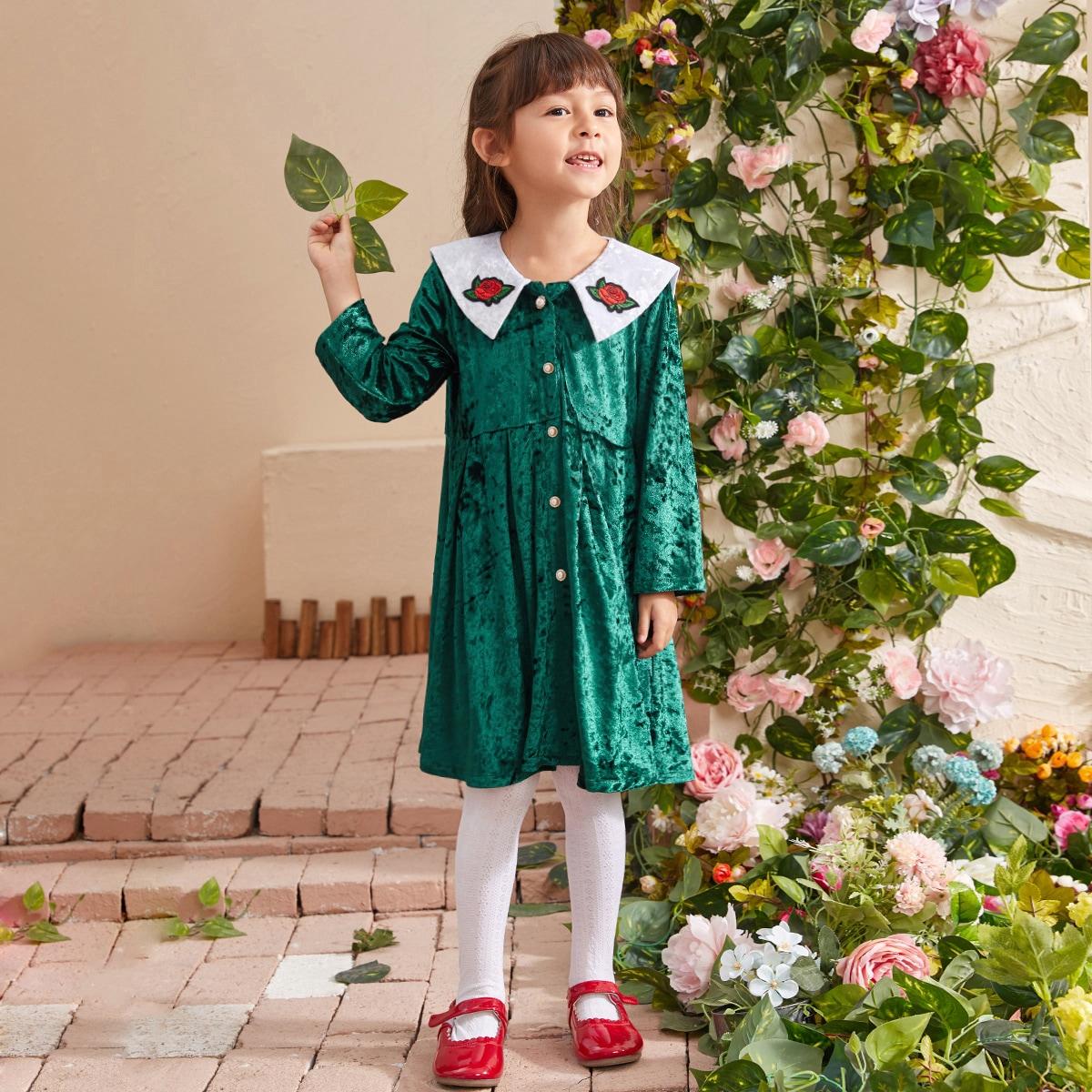 С вышивкой цветочный принт институтский платья для девочек