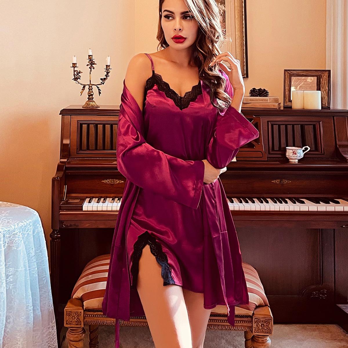 Контрастные кружева Контрастный цвет Элегантный Ночной халат