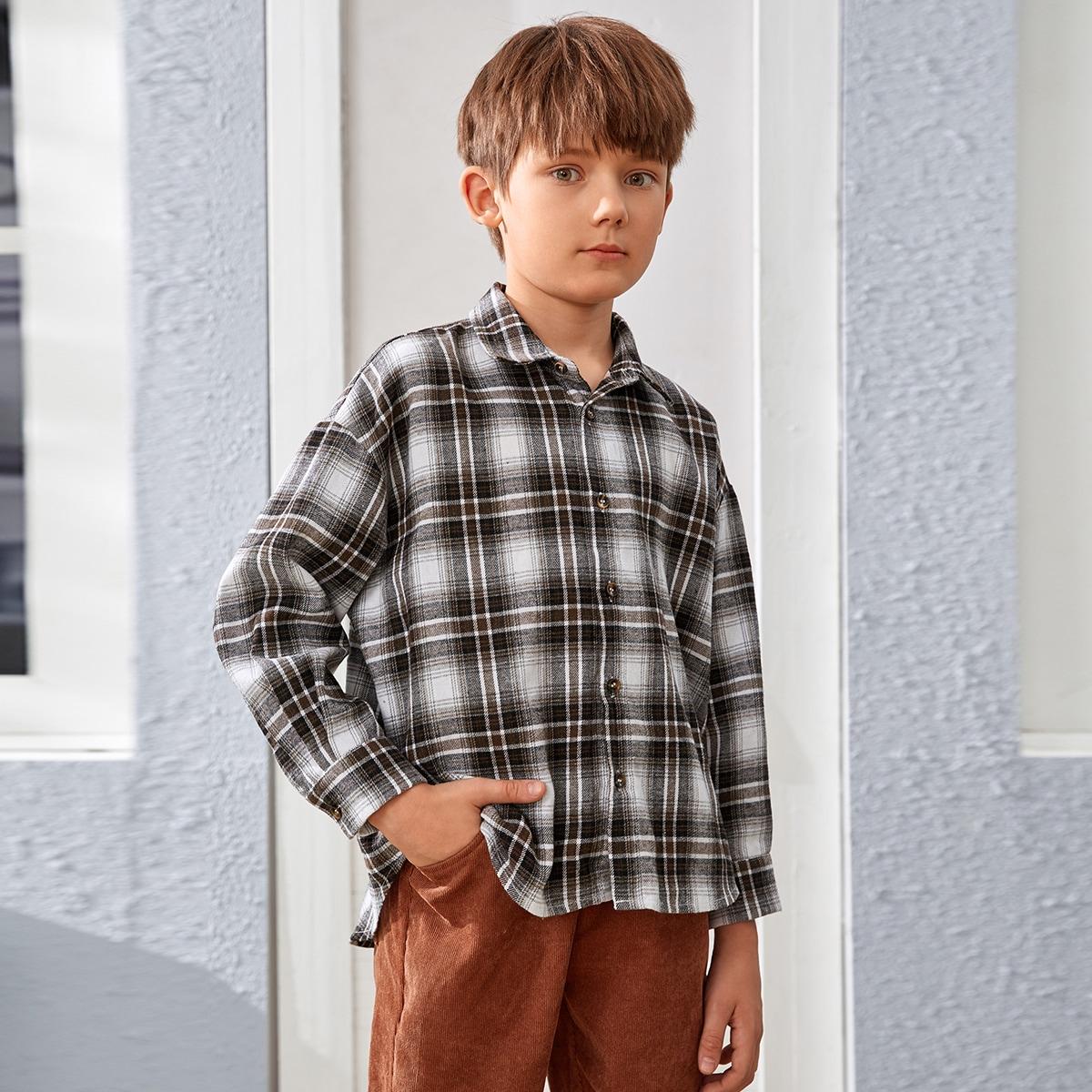 Boys Tartan Drop Shoulder Button Front Shirt