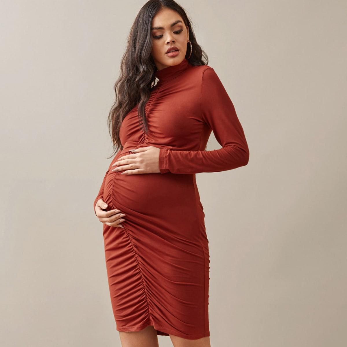 Со сборками ровный цвет элегантный комплект из двух предметов для беременных