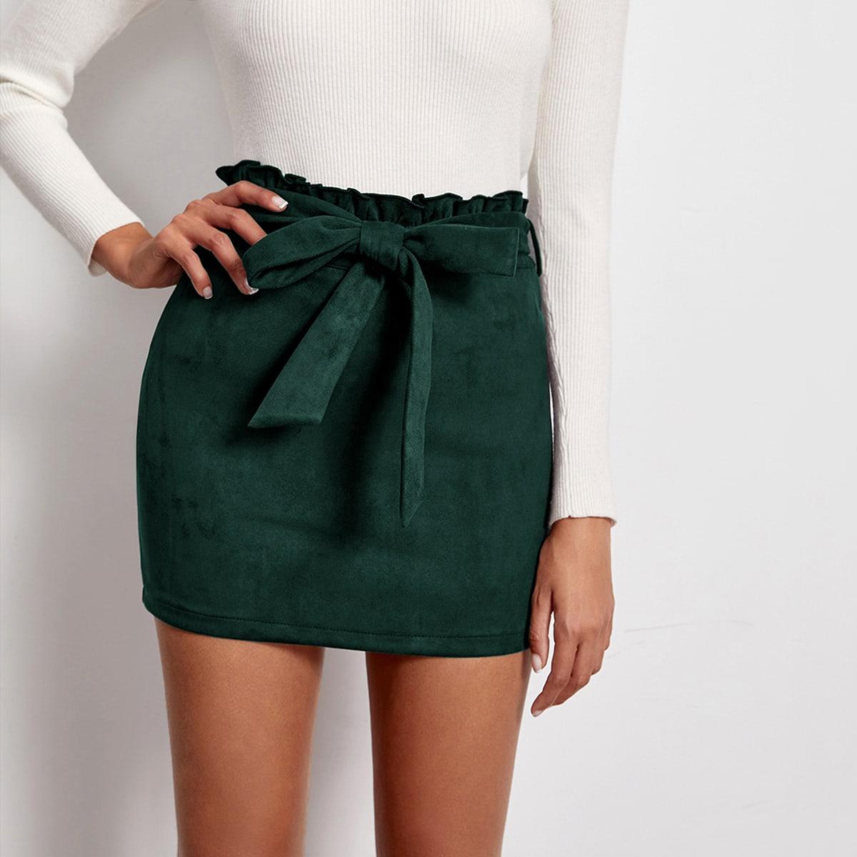 Замшевая юбка с поясом и присборенной талией