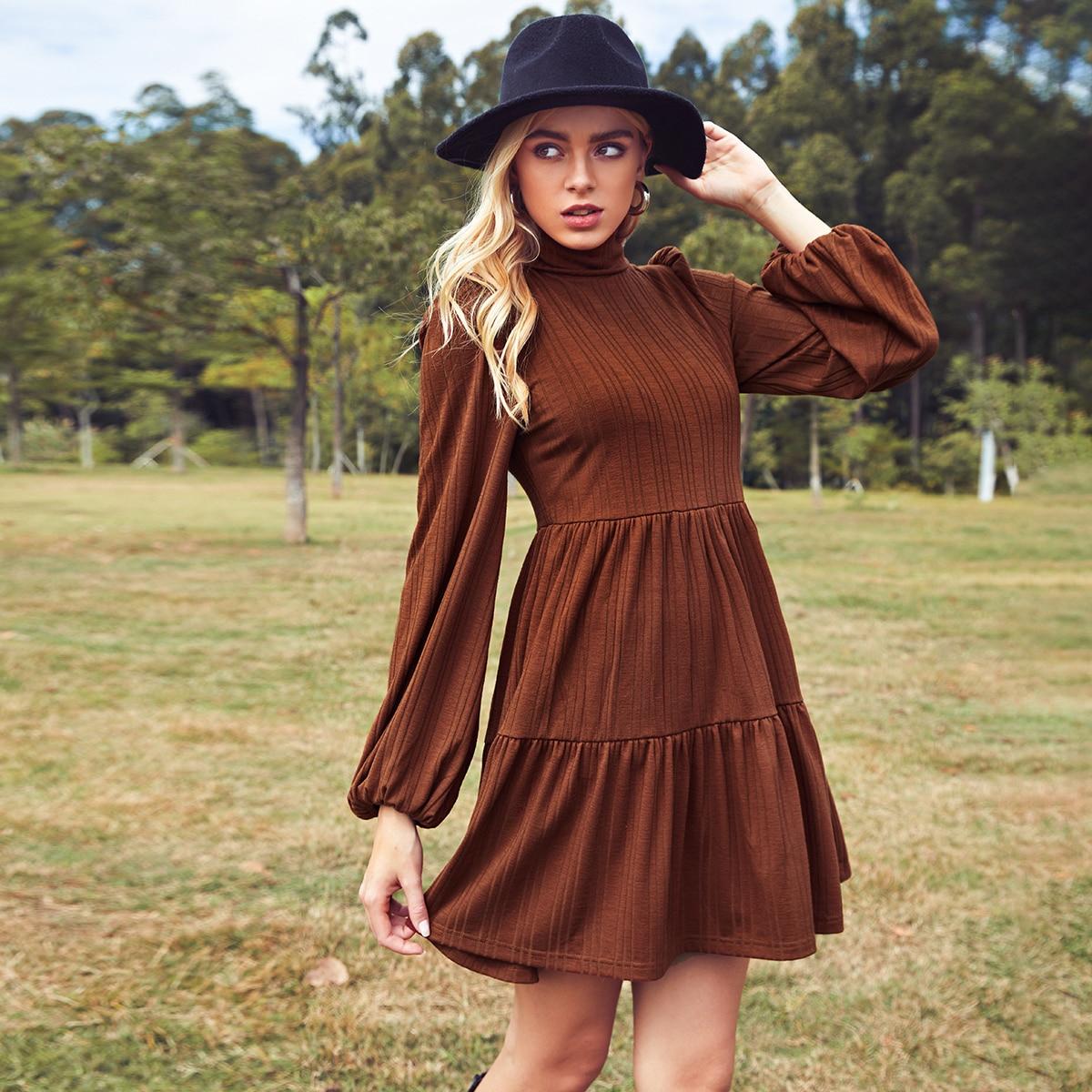 Cut Out Back Ruffle Hem Rib-knit Dress