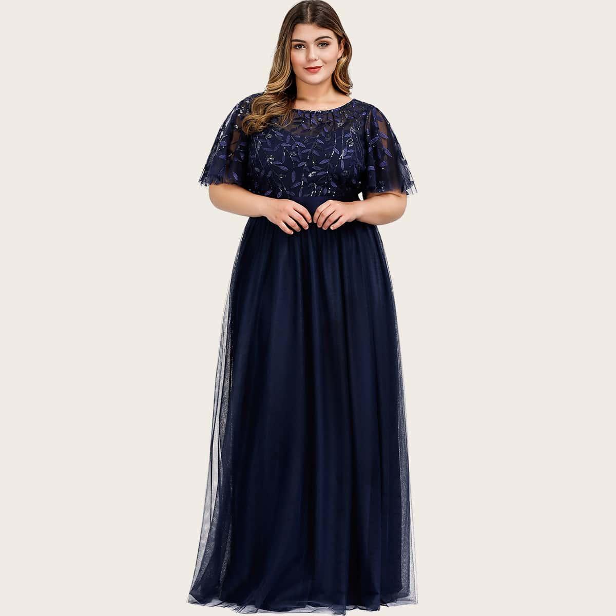 Сетчатое платье размера плюс с узором листьев
