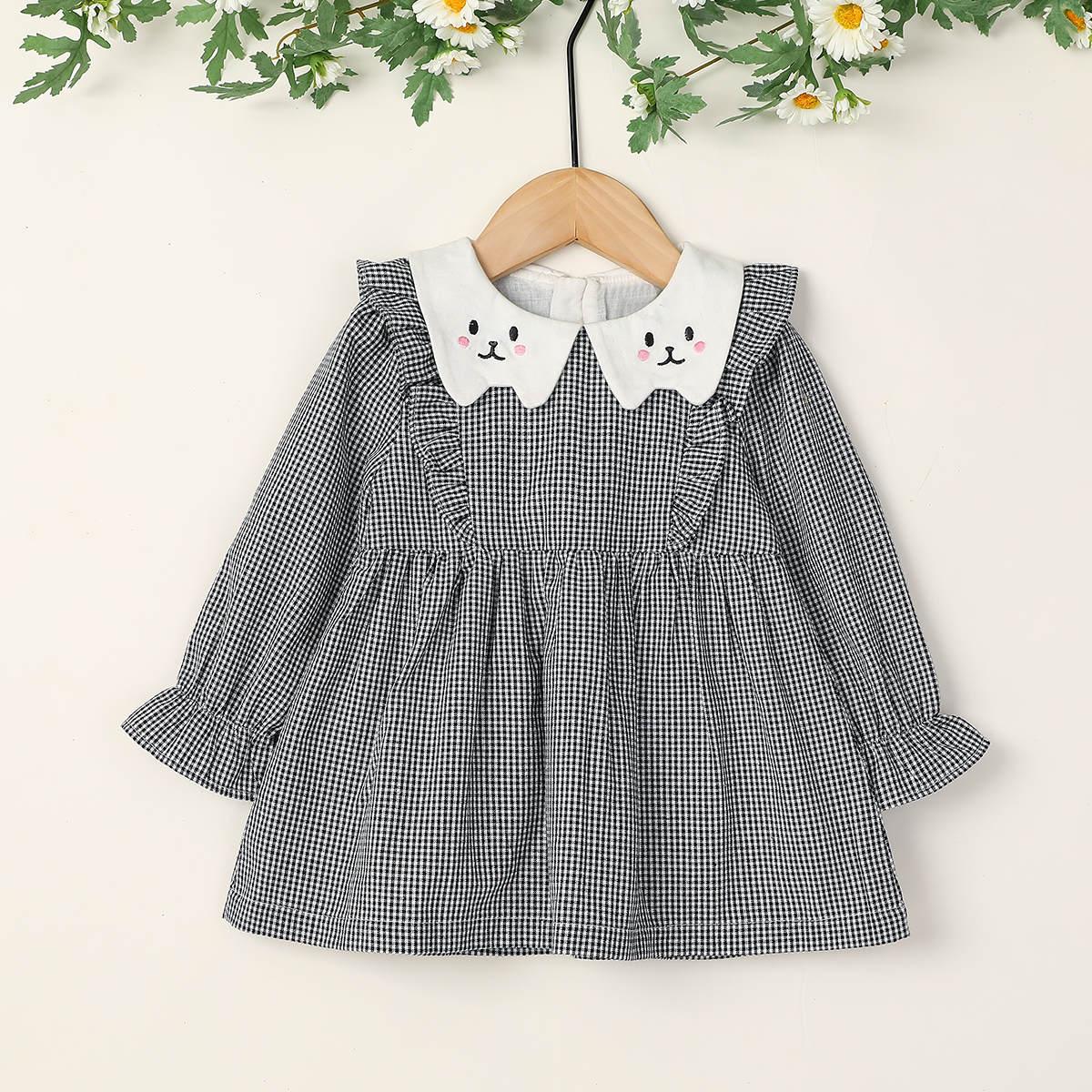 С вышивкой клетка милый платья для малышей