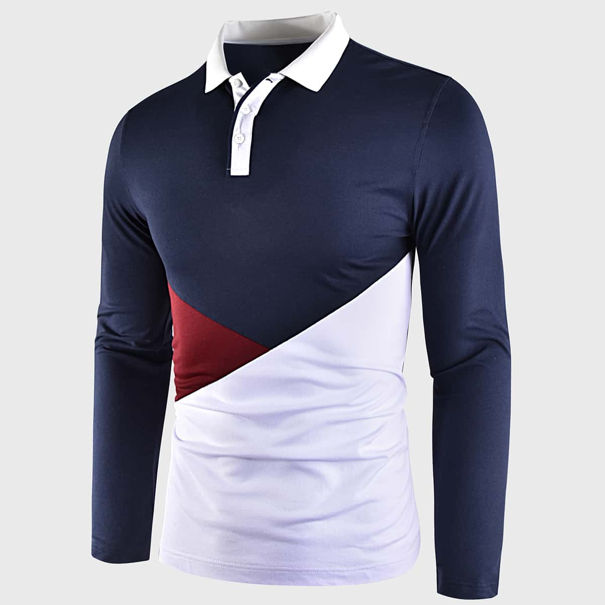 Контрастный воротник контрастный цвет повседневный мужская рубашка-поло