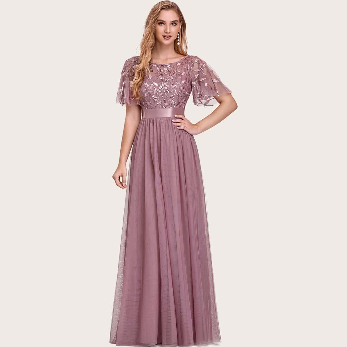 Сетчатое платье с вышивкой и блестками