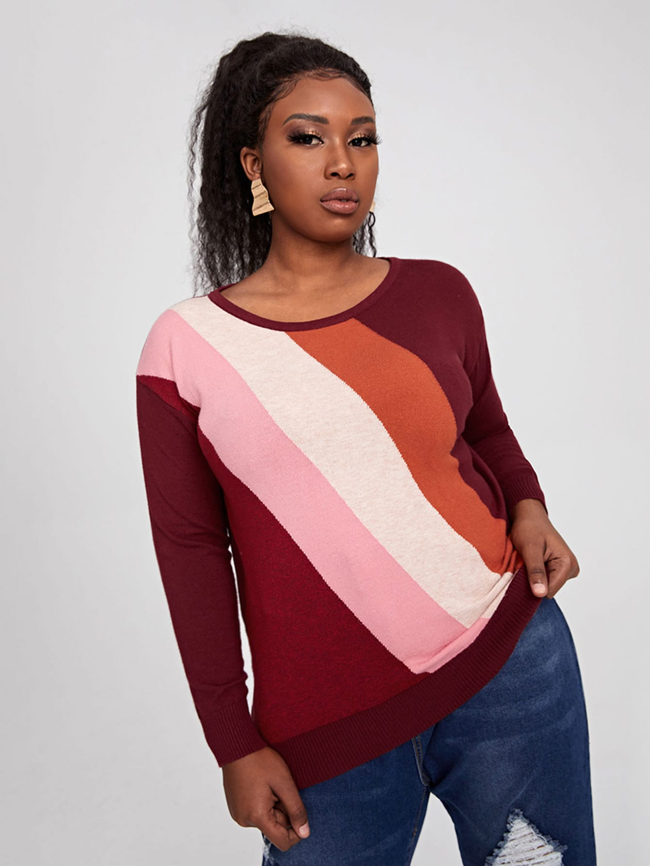 Plus Color Block Drop Shoulder Sweater thumbnail