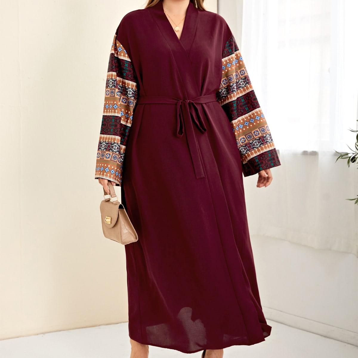 С поясом геометрический принт элегантный кимоно размер плюс