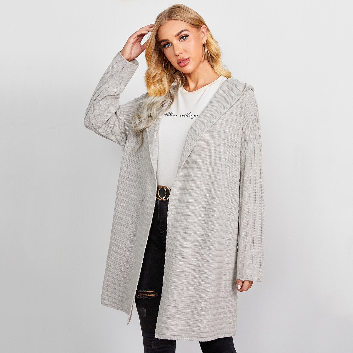 Drop Shoulder Hooded Cardigan