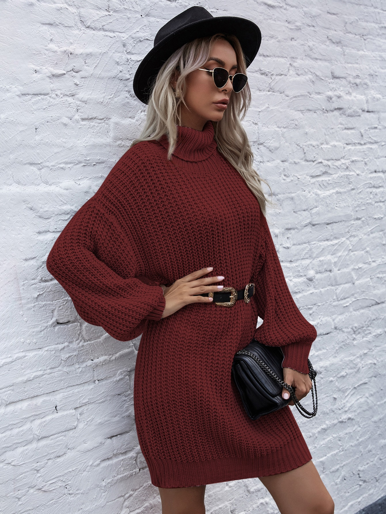 Turtle Neck Ribbed Knit Sweater Dress Without Belt thumbnail