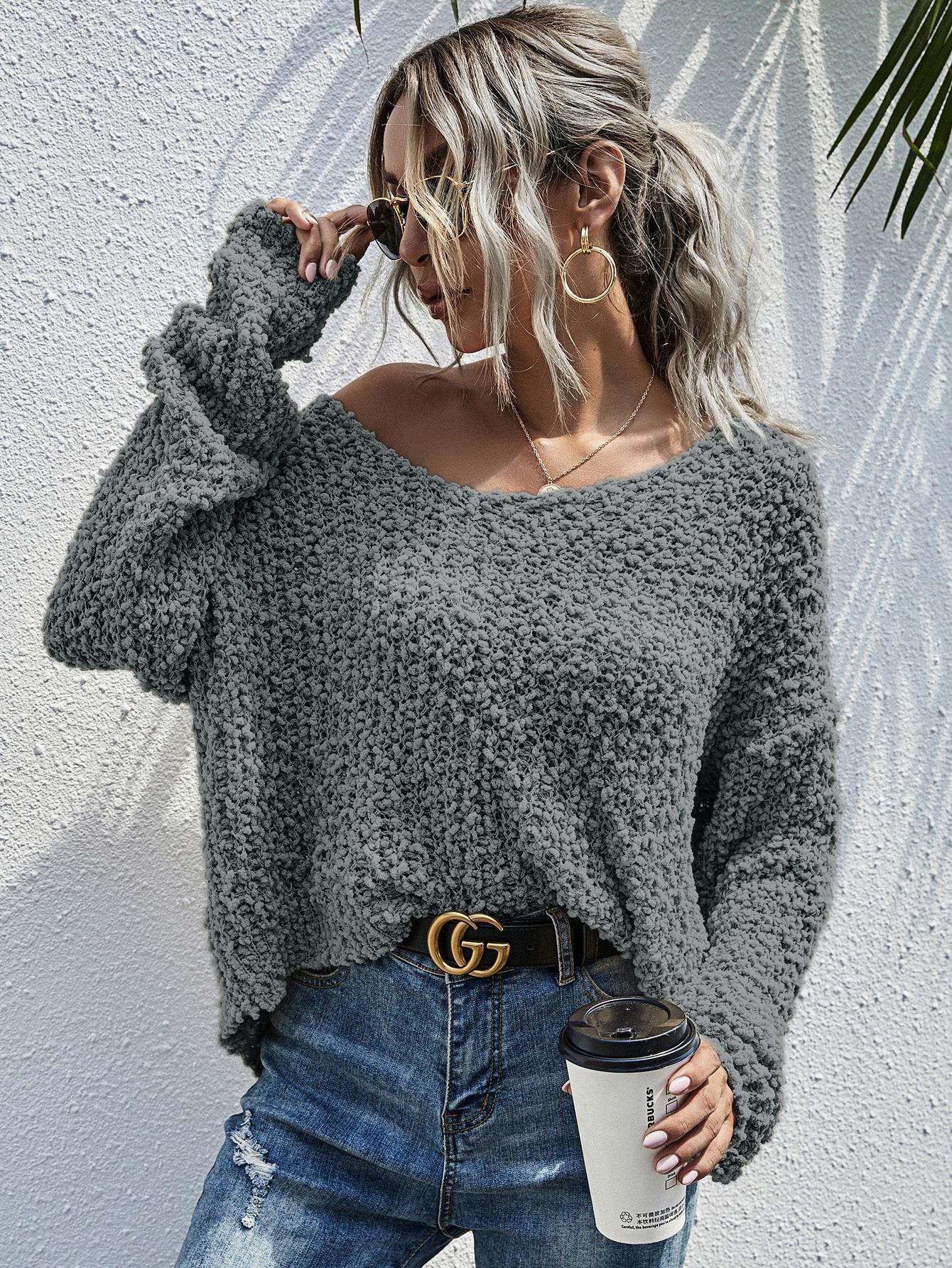 Drop Shoulder Popcorn Knit Sweater thumbnail
