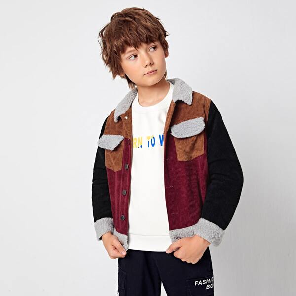 Boys Contrast Teddy Collar Colorblock Cord Jacket, Multicolor