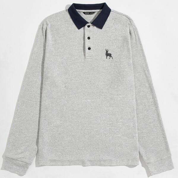 Контрастный воротник Животный Повседневный Мужская рубашка-поло, Светло-серый