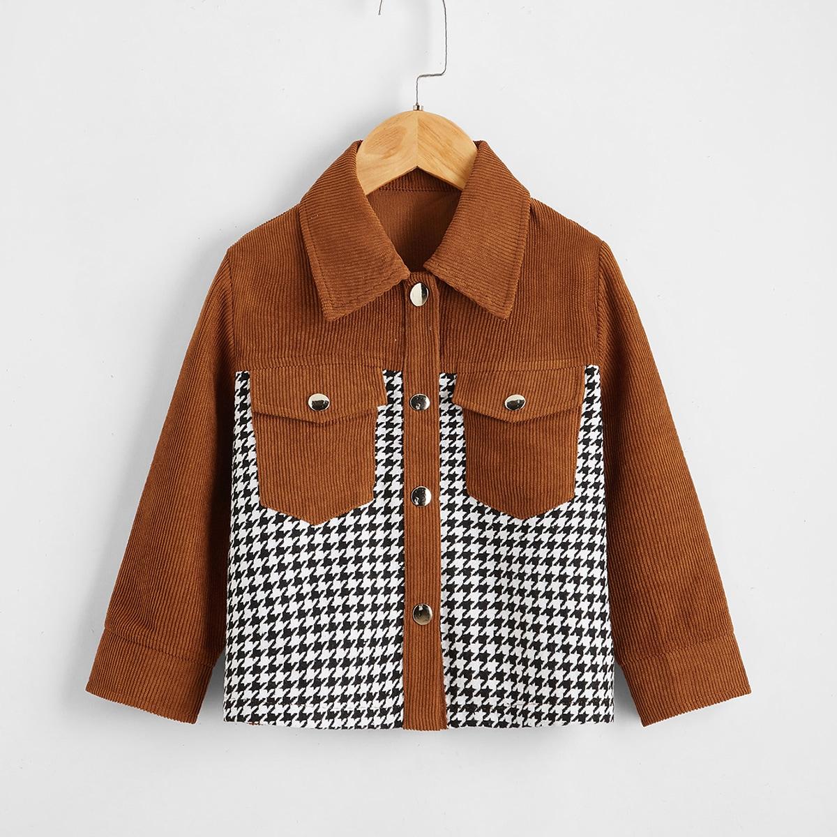 С карманами хаундстут повседневный куртки для девочек