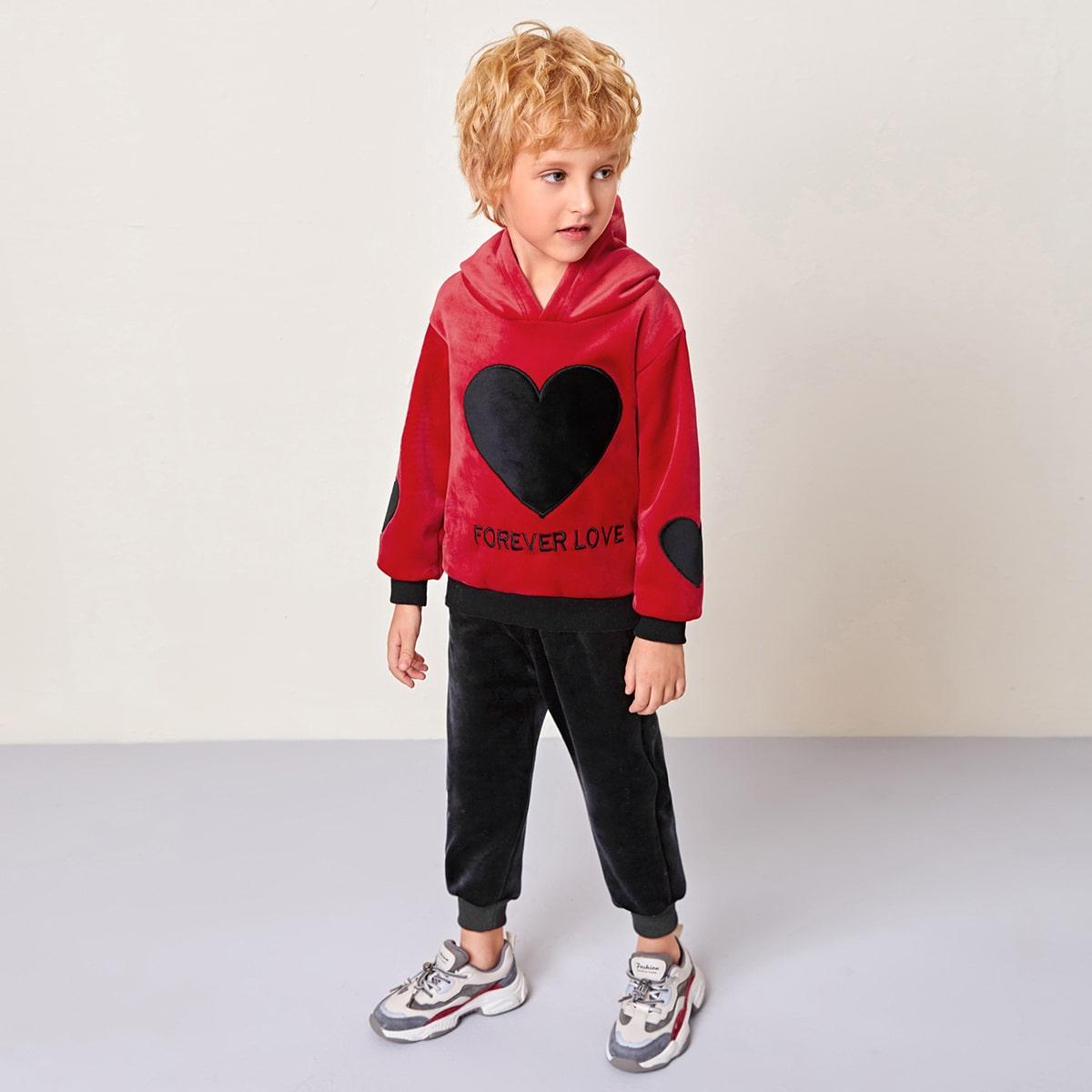 С вышивкой лозунг повседневный комплект из двух предметов для мальчиков