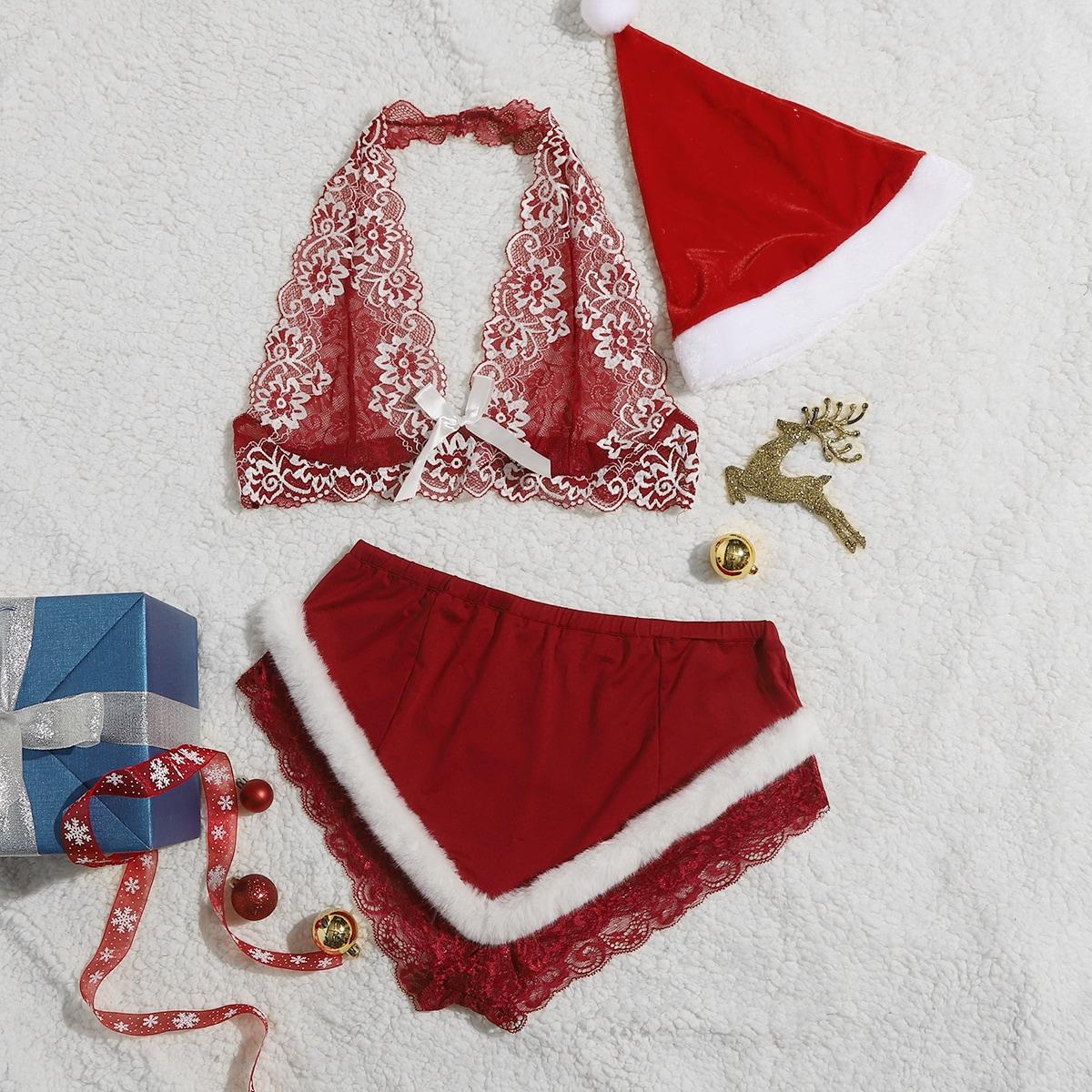 Рождество комплект кружевного нижнего белья с шапкой размера плюс
