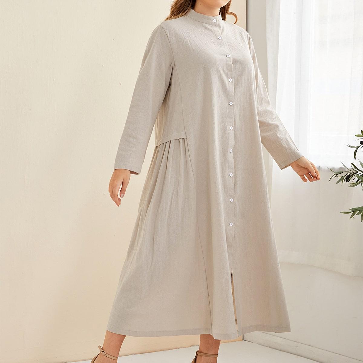 Платье размера плюс с воротником-стойкой и пуговицами