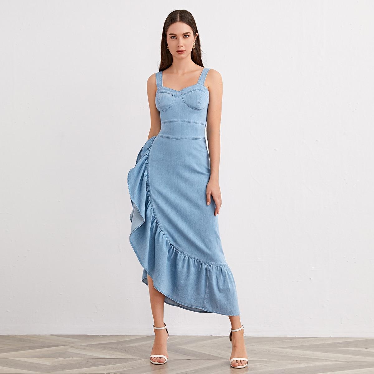 shein Casual Vlak Denim jurk Rimpeling