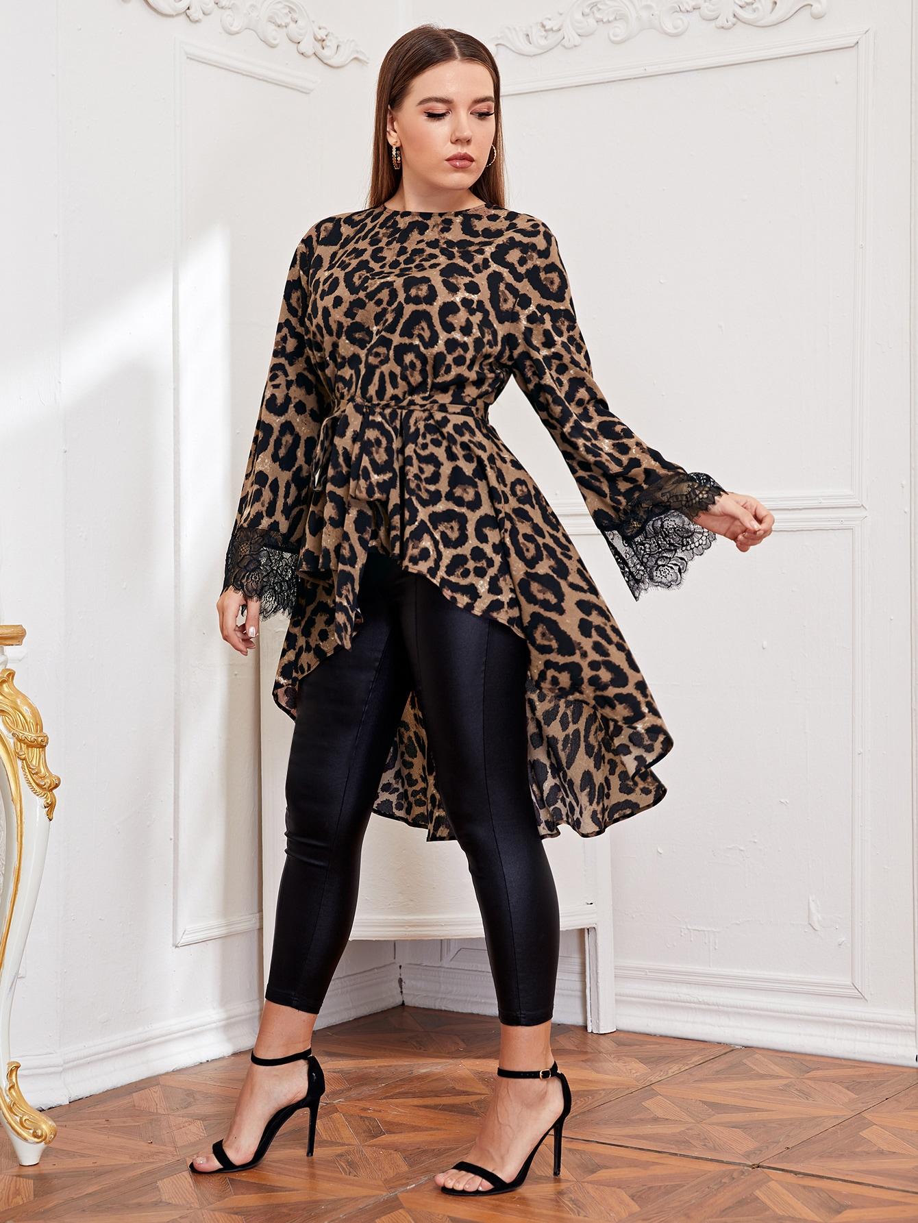 Plus Lace Cuff Self Belted Dip Hem Leopard Top thumbnail