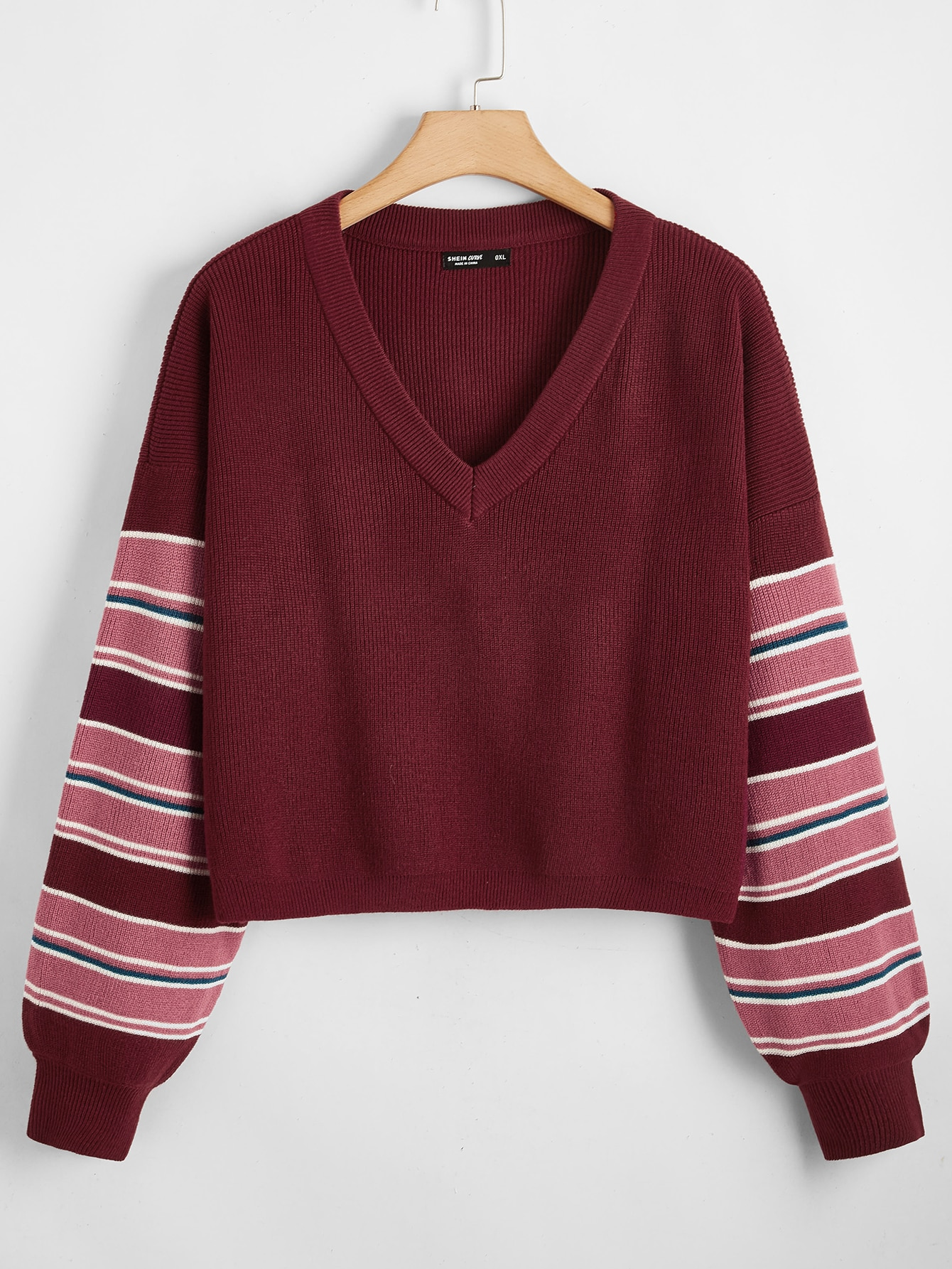 plus striped sleeve sweater