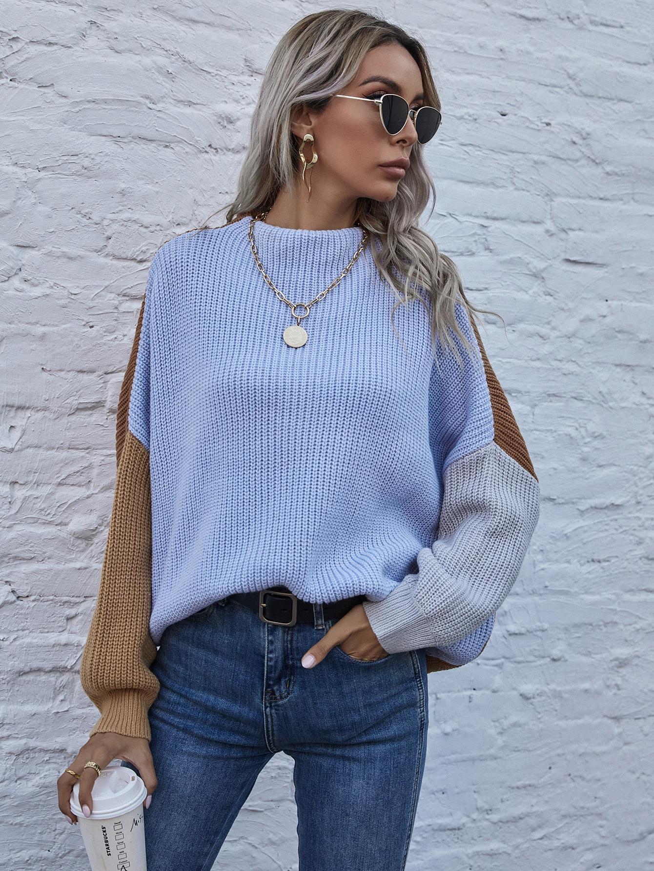 Drop Shoulder Colorblock Sweater thumbnail